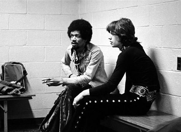 Hendrix with Mick Jagger in 1969